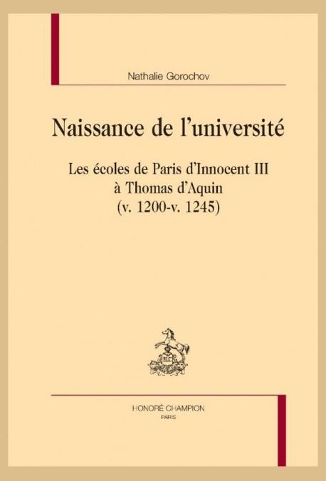NAISSANCE DE L'UNIVERSITÉ