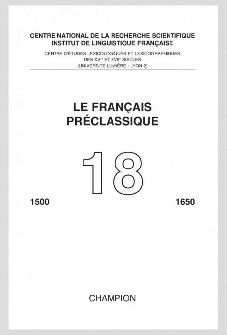 LE FRANÇAIS PRÉCLASSIQUE 18