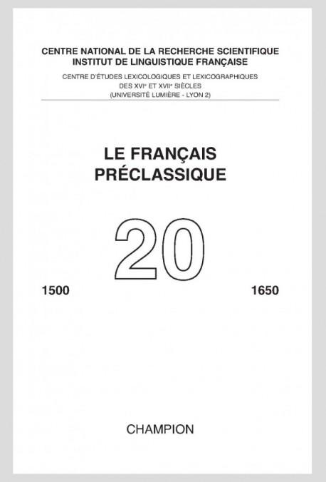 LE FRANÇAIS PRÉCLASSIQUE  20