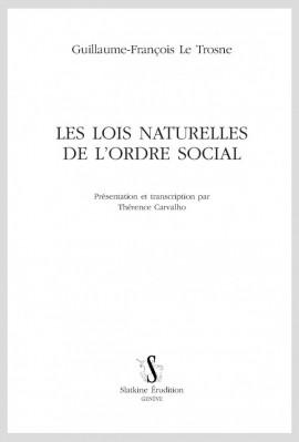 LES LOIS NATURELLES DE L'ORDRE SOCIAL