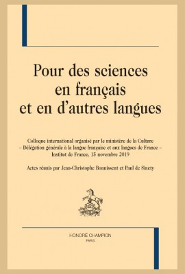 POUR DES SCIENCES EN FRANÇAIS ET EN D'AUTRES LANGUES